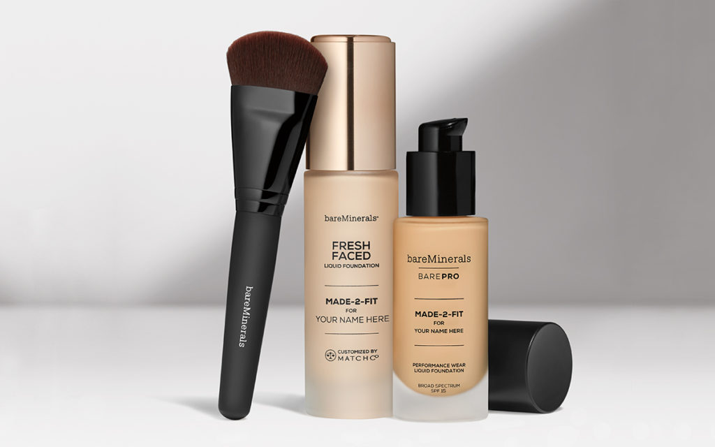 bareMinerals custom foundation formulas and brush