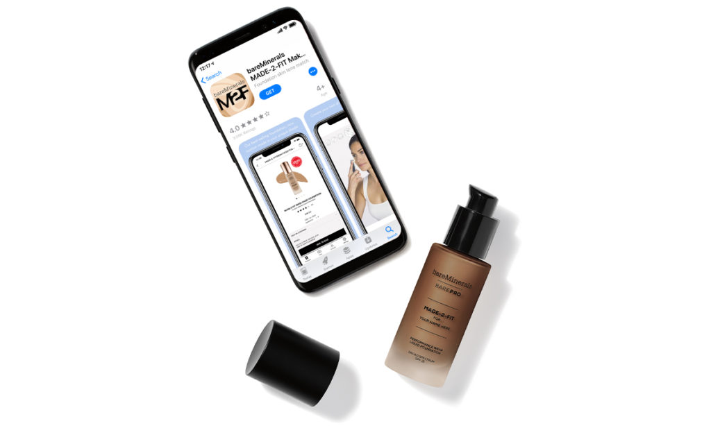 bareMinerals MADE-2-FIT App on a cell phone with custom foundation