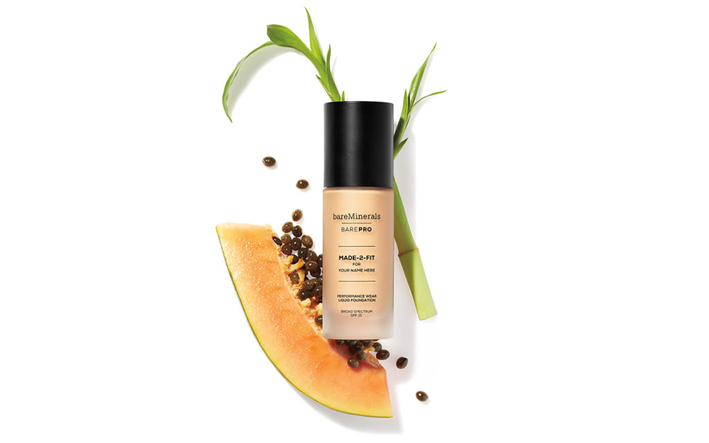 bareMinerals BAREPRO custom foundation on top of ingredients