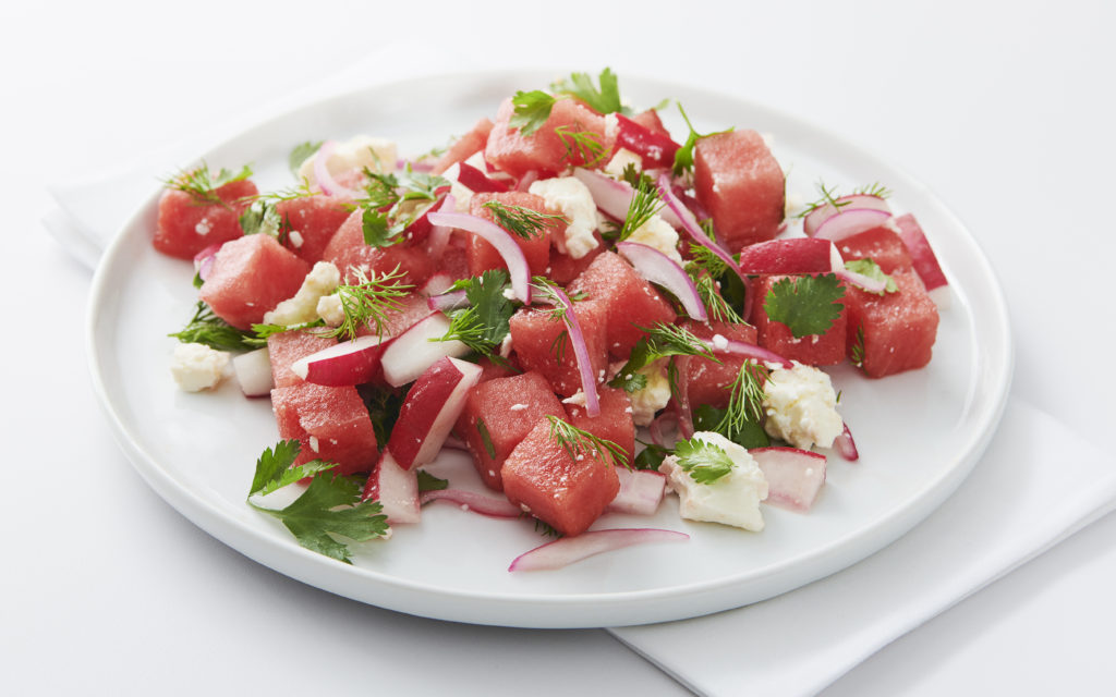 Bowl of watermelon salad with feta