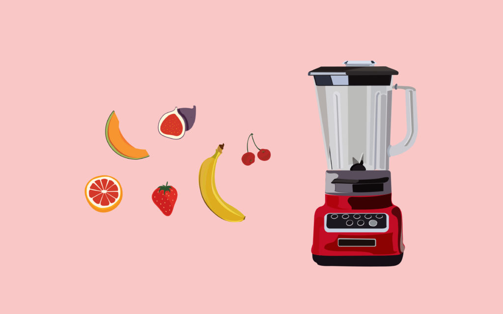 fruits and a smoothie blender