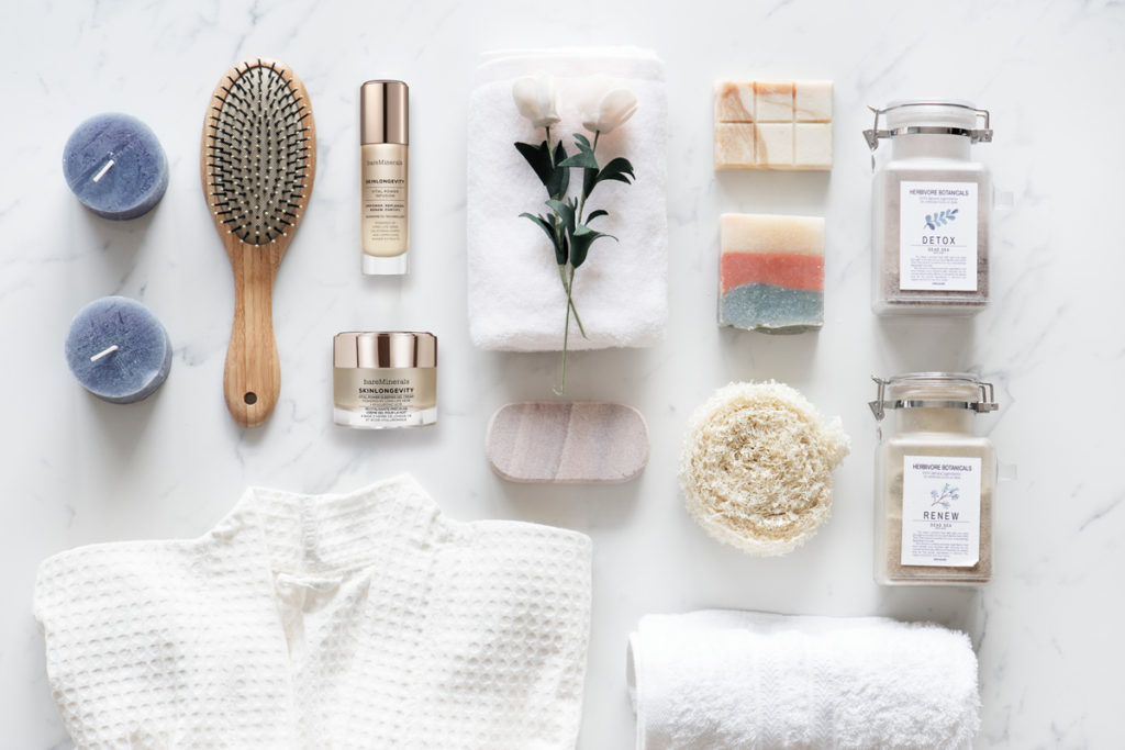 flat lay of self care and beauty products